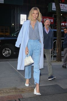 Karlie Kloss Street Style in a Square White Leather Mules Out And About in New York, Autumn Winter Leather Mules, White Leather, Karlie Kloss Street Style, Satin Shirt, Autumn Street Style, Put On, Pumps Heels, Fall Winter, Glamour