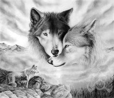 dibujos de lobos 3