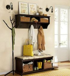 Separates - Mudroom Ideas - Bob Vila Budget option w/ Ikea components. Just add bead board to wall.