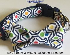 Navy Blue and White Bow Tie Collar for Dogs & Cats