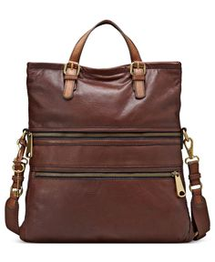 WANT!!!!!!!!!!! Fossil Handbag, Explorer Leather Tote - Fossil - Handbags & Accessories - Macy's