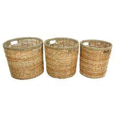 Oriental Furniture WV-1357 Natural Fiber Rush Grass Round Waste Bin (Set of 3)