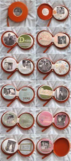 libro de recuerdos o scrapbook hecho con un librito de cds   manualidad para san valentín #manualidades #amor #diy #regalos
