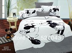 Black and white Mickey Mouse4pcs Bedding Sets Full/Queen/King Size Comforter sets/Quilt Set,LF01,Free Shipping US $160.02 - 170.02