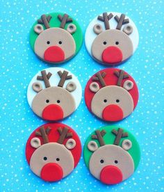 Items similar to 12 Rudolf fondant cupcake toppers - Christmas party - Christmas cupcake toppers - Reindeer cupcake toppers - Rudolf fondant toppers on Etsy Christmas Cupcake Toppers, Reindeer Cupcakes, Christmas Cupcakes Decoration, Christmas Topper, Christmas Desserts, Christmas Treats, Christmas Baking, Winter Cupcakes, Fondant Christmas Cake