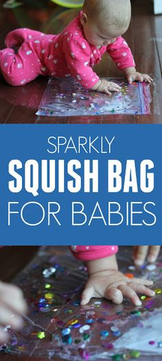 Easiest Sparkly Squish Bag for Babies Toddler Approved!: The Easiest Sparkly Squish Bag for BabiesToddler Approved!: The Easiest Sparkly Squish Bag for Babies Baby Sensory Play, Baby Play, Baby Toys, Kids Toys, Infant Activities, Activities For Kids, Sensory Activities, 5 Month Old Baby Activities, Baby Lernen