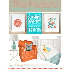 """""""Turquoise and Orange Nursery"""" by thelifeoftheparty on Polyvore"""