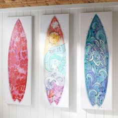 Gorgeous for my kids surf room! I think we could create a version of this!   Girls Surfboard Canvas Art #potterybarnteen