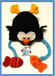 Fishing Penguin Hat - $4.49 by Heidi Yates of Snappy Tots / Penguins - Animal Crochet Pattern Round Up - Rebeckah's Treasures