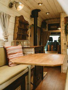 Campervan Hire, Campervan Interior, Vw Lt Camper, Camper Van, Campers, Travel Camper, Farm Style Sink, Wood Cladding, Forest Design