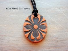 Mandala Clay Diffuser NECKLACE Rustic Black by KilnFiredDiffusers