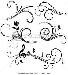 Find Swirl Design Elements stock images in HD and millions of other royalty-free stock photos, illustrations and vectors in the Shutterstock collection. Thousands of new, high-quality pictures added every day. Doodles Zentangles, Zentangle Patterns, Doodle Pattern, Bd Art, Damask Decor, Tattoo Hals, Henna Tattoos, Swirl Design, Music Notes