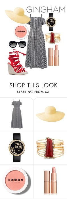 """""""Gingham Dress"""" by jessiebowens ❤ liked on Polyvore featuring Warehouse, Columbia, Chanel, LORAC and Ace"""