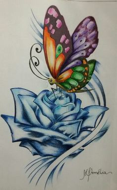 I painted & with ordinary colored pencils & # Rose And Butterfly Tattoo, Butterfly Sketch, Butterfly Tattoo Designs, Butterfly Painting, Butterfly Art, Pencil Drawings Of Flowers, Pencil Art Drawings, Art Drawings Sketches, Easy Drawings