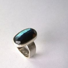 Labradorite Ring Rose Cut Stone Large Faceted Stone by khmetalwork