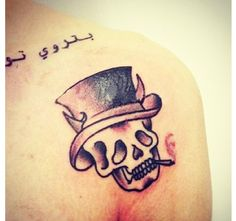 Zayn's new tattoo. Like he just would get a tattoo with a skull smoking a joint???!? aha :) x
