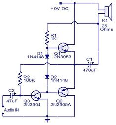 3 Transistors Audio Amplifier #Circuit #Electronics