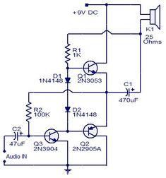 Three transistor audio amplifier Circuit