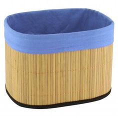 BAMBOO STORAGE BASKET BLUE  by Smart Living Company Retail Price: $9.99  PRODUCT DESCRIPTION: Storage space and style is what youll get with this neat bamboo basket that features a cheerful blue fabric lining that folds over the top. Youll discover a myriad of uses for it around your home.  http://www.smartlivingcompany.com/bamboo-storage-basket-blue