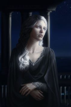 THE VALAR: Nienna by Tania Weil. Lady of Mercy. She was the tutor of Olórin (Gandalf), and weeps constantly. But she does not weep for herself; and those who hearken to her learn pity, and endurance in hope. Her tears are those of healing and pity, not of sadness, and often have potency; for example, she watered the Two Trees with her tears, and later washed the filth of Ungoliant away from them once they were destroyed. She has no spouse.