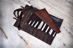 Chef Knife Roll / Westbrook Leather Knife Roll by WestbrookLeather