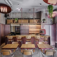 Rare Restaurant by Crosby Studios Rare Pastrami Bar glows with its pink, gleaming interiors Rare Restaurant, Moscow Restaurant, Restaurant Design, Restaurant Seating, Interior Exterior, Home Interior, Interior Architecture, Luxury Interior, Design Café