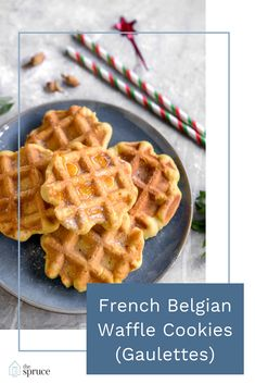 This gaulettes (French-Belgian waffle cookies) recipe features butter, brown sugar, and vanilla dough cooked on a waffle iron. Belgian Waffle Cookie Recipe, Waffle Iron Cookies, Waffle Cake, French Waffle, Belgian Waffle Iron, Belgian Waffles, Waffel Cookies, Cookie Recipes, Dessert Recipes