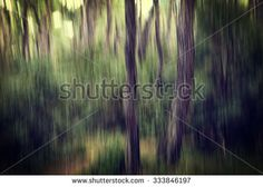 Abstract Blurry Dark Green Forest - made with camera motion