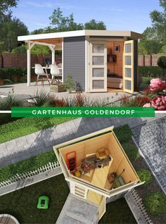 Garden house terrace karibu garden house gold village optional with add-on roof Terrace, Pergola, Home And Garden, Outdoor Structures, Cabin, Ads, House Styles, Gardening, Home Decor