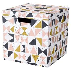 IKEA TJENA Storage box with lid White black/pink 30 x 30 x 30 cm A good size for slightly larger things like clothes, media accessories and toys. Kids Clothes Storage, Kid Toy Storage, Small Storage, Paint Storage, Ikea Storage Boxes, Storage Boxes With Lids, Storage Baskets, Ikea Dorm, Range Document