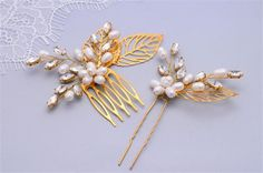 This set of wedding hair comb and a hair pin was designed and handmade by me in Magic Bluebell Designs studio. They can be worn in many different bridal hairstyles. Choose your own combination from drop-down menu. To create these lovely wedding hairpins I have handwired sparkly rhinestones and freshwater pearls into delicate branches and gold tone filigree leaves . These hair pins are a real eye catcher in the sun, the photos really can not show their true beauty! * Available in Silver and…