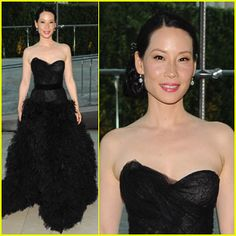 Lucy Liu steps out in Monique Lhuillier at the 2011 CFDA Fashion Awards