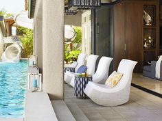Having some individual seating by the pool gives our guests the opportunity to enjoy the sunshine and beautiful view!