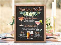 Digital Printable Wedding Bar Menu Sign Signature Drinks