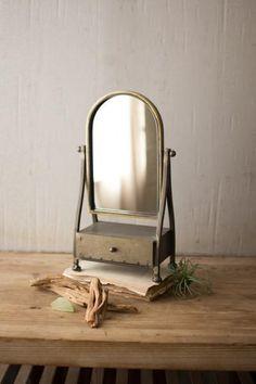 47cc855e7d5f  103.50 Kalalou Metal Frame Table Mirror With Drawer Table Mirror