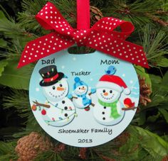 Personalized Snowman Family Ornament  Two Sided by ThatPartyChick, $15.00