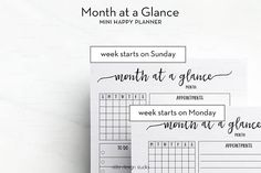 Month at a Glance MINI Happy Planner Monthly Planner
