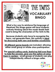 The Twits Vocabulary Bingo Roald Dahl The Twits, Roald Dahl Day, Transition Words, Higher Order Thinking, Vocabulary Activities, Science Lessons, Reading Comprehension, Small Groups, Bingo