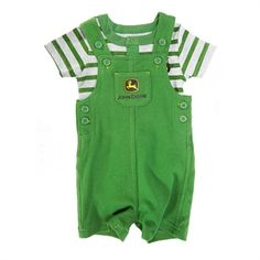 John Deere Infant Boy Bodysuit and Shortall Set #VonMaur #JohnDeere #Green #Overalls