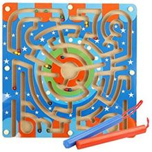 Fun Magnetic Wooden Toddler Maze Puzzle - let the children learn to identify graphics, numbers, Color, can be a good exercise observation and logical thinking ability
