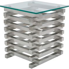 """Stacked Side Table in Brushed Stainless Steel & 1/2"""" Tempered Glass #modern #contemporary #glass #stainless #metal #coffeetable #cocktailtable #homedecor #livingroom #entertaining #interiordesign #architecture #jenga"""