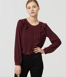 8a142fdf4344b7 LOFT Pintucked Ruffle Blouse in mauve rose Ruffle Shirt