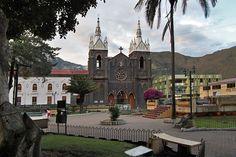 Central Plaza and Church in Banos, Ecuador