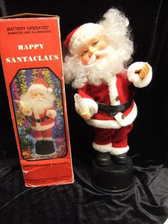 """Vintage Battery Operated Happy Christmas Santa Claus Lighted Motion Musical 15"""""""