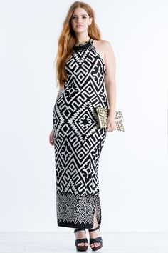 Cabo Border Maxi Dress (plus size) Trendy Plus Size Clothing, Plus Size Fashion, Plus Size Maxi Dresses, Plus Size Outfits, Top Clothing Brands, Full Figure Fashion, Latest Tops, Curvy Outfits, Bree Kish