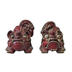 Vintage Pair Of Oxblood Red Glazed Foo or  Lion Dogs From Shiwan