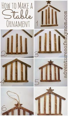 The kids will love making these! DIY Stable Ornaments Tutorial Adventures of a DIY Mom - Easy and Cheap DIY Christmas Tree Ornaments Christmas Crafts For Kids To Make, Preschool Christmas, Diy Christmas Ornaments, Craft Stick Crafts, Christmas Projects, Holiday Crafts, Christmas Holidays, Craft Sticks, Popsicle Sticks