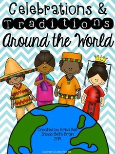 JUST UPDATED!!!  This resource includes 10 front-to-back (2-page) color graphic organizers AND 10 blackline masters of the same graphic organizers to be used in conjunction with a research project on Celebrations & Traditions Around the World.  While this resource was originally designed as part of a co-teaching unit for second grade classes, it can easily be used and scaffolded for any grade level, particularly first through sixth.