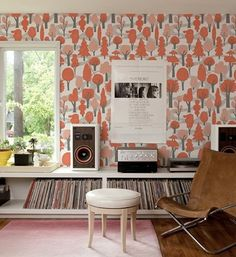 Just look at this wallpaper…no one will ever think of using this.  Well that's what you get when you are brave to try new things, and I have to admit it works in this space with the leather brown chair (which I love).