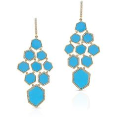 Anne Sisteron  14KT Yellow Gold Turquoise Diamond Chandelier Earrings ($4,155) ❤ liked on Polyvore featuring jewelry, earrings, gold, gold earrings, yellow gold diamond earrings, gold jewellery, diamond chandelier earrings and diamond earrings